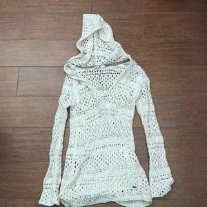 White knit roxy hoodie